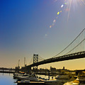 Ben Franklin Bridge From The Marina by Bill Cannon
