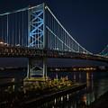 Ben Franklin Bridge In Philadelphia At Night by William Bitman