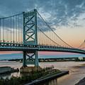 Ben Franklin Bridge In Philadelphia In The Early Morning by William Bitman