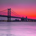 Ben Franklin Bridge - Sunrise by Randy Kostichka