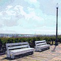 Benches Boardwalk And Lamppost 1 by Jeffrey Todd Moore