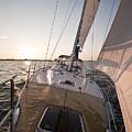 Beneteau 49 Sailing Yacht Close Hauled Charleston Sunset Sailboat by Dustin K Ryan