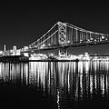 Benjamin Franklin Bridge - Black And White At Night by Bill Cannon
