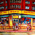 Ben's Delicatessen - Montreal Memories - Montreal Landmarks - Montreal City Scene - Paintings  by Carole Spandau