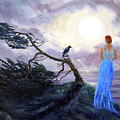 Bent Cypress And Blue Lady by Laura Iverson