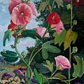 Bent Hollyhocks by Fran Kelly