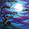 Bent Pine Tree At Moonrise by Laura Iverson