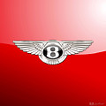 Bentley 3 D Badge On Red by Serge Averbukh