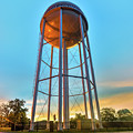 Bentonville Arkansas Downtown Water Tower At Sunset - Square Format by Gregory Ballos