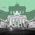 Berlin Brandenburg Gate - Graphic Art - Green by Melanie Viola