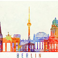 Berlin Landmarks Watercolor Poster by Pablo Romero