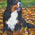 Bernese Mountain Dog Autumn Leaves by Lee Ann Shepard