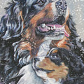 Bernese Mountain Dog With Pup by Lee Ann Shepard