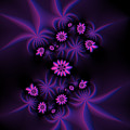 Berry Flowers Fractal by Judi Suni Hall