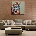 Besaw Art Hand-painted Oil Painting On Canvas Abstract Style Modern Wall Art Animal Painting Zebra by Besaw Art