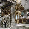 Bethlehem - Inside Nativity Church 1890 by Munir Alawi