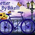 Better By Bike - Sunflowers And Butterflies  by Irina Sztukowski