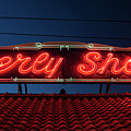 Beverly Shores Indiana Depot Neon Sign Panorama by Steve Gadomski