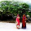 Bff Best Friends Pregnant Women Portrait Village Indian Rajasthani 1 by Sue Jacobi