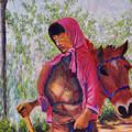 Bhutan Series - Woman With The Horse by Uma Krishnamoorthy