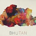 Bhutan Watercolor Map by Design Turnpike