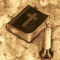 Bible And Candle by Michael Vigliotti