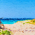 Bicycle On Beach by Les Palenik