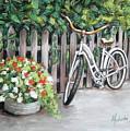 Bicycle On Fence by Melinda Saminski