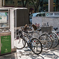 Bicycle Parking And Smoking Station In Tokyo Japan by Jacek Malipan