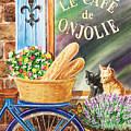 Bicycle With Basket At The Cafe Window by Irina Sztukowski
