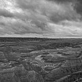 Big Badlands Overlook Panorama 2 Bw by Michael Ver Sprill