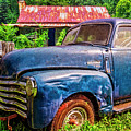 Big Blue Chevy At The Farm by Debra and Dave Vanderlaan