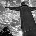 Big Jesus - Christ Of The Ozarks In Black And White by Gregory Ballos