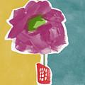 Big Purple Flower In A Small Vase- Art By Linda Woods by Linda Woods