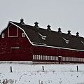 Big Red Barn In The Winter by Edward Peterson