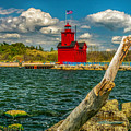 Big Red Lighthouse In Michigan by Nick Zelinsky