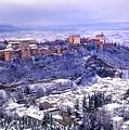 Big Snow In The Alhambra Granada  by Guido Montanes Castillo