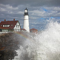 Big Surf At Portland Head Light by Colin Chase