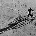 Bike And Shadow - San Francisco Beach At Dusk by Carlos Alkmin
