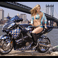 Bike, Babe, And Bridge In The Big Apple by Lawrence Christopher