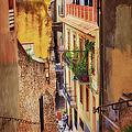 Bike Cafe On A Lane In Girona by Joan Carroll