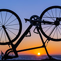 Bike On Sea Wall At Sunset by Garry Gay