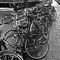 Bike Parking -- Amsterdam In November Bw by Mark Sellers