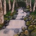 Birch Trees By The Brook by Lynn Babineau