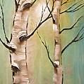 Birch Trees Color Pencil  by Heinz G Mielke