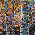 Birch Trees Oil Painting With Palette Knife  by OLena Art Brand