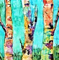 Watercolor Painting Of Birched Trees  by Angela Loya