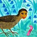 Bird People Blackbird And Worm by Sushila Burgess