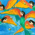 Bird People Little Green Bee Eaters Of Upper Egypt by Sushila Burgess