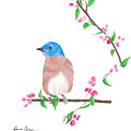 Minimal Bird And Cherry Flowers by Laura Greco